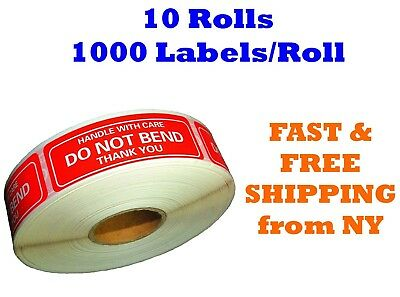 "10 Rolls 1""x3"" DO NOT BEND HANDLE WITH CARE Stickers 10000 Labels 1000 Per Roll"
