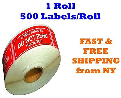 One Roll 500 2 x 3 DO NOT BEND HANDLE WITH CARE Stickers Labels Easy Peel