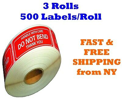 "3 Rolls 2""x3"" DO NOT BEND HANDLE WITH CARE Stickers1500 Labels (500 Per Roll)"