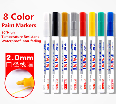 8 Color Permanent Waterproof Marker Pens for Car Tire, Gift Decoration, Glass