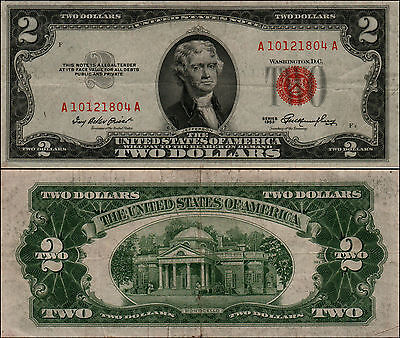 1953 $2 Dollar Bill Old Us Note Legal Tender Paper Money Currency Red Seal Y-17