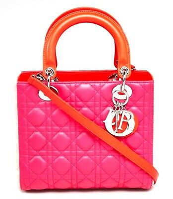 02ca2543e7e8 CHRISTIAN DIOR Pink Tri-Color Cannage Quilted Lambskin Leather Medium Lady  Dior
