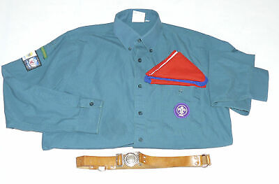 Vintage Official Cub Scout Shirt with Patches Leather Belt Tie