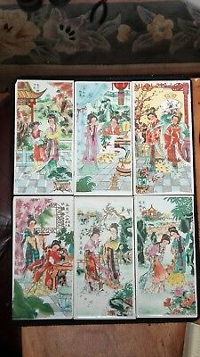 Chinese  Young Maidens hand painted on half sized tiles 6 in Total