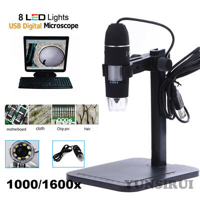 1000X 1600X 8 LED USB2.0 Zoom Digital Microscope Biological Endoscope with Stand