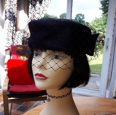 Vintage 40s 50s 80s black pillbox hat black net with bow trim funeral