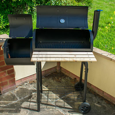 Large Oil Drum Barrel Style Bbq Smoker Cart Barbeque Meat Food Smoking Cooking