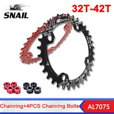 SNAIL 104bcd 32-42T Narrow Wide Chainring MTB Bike Oval Round Chainwheel Bolts