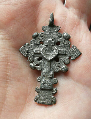 RARE 16th CENTURY SILVERING BRONZE Cross of the Old Believers with Prayer