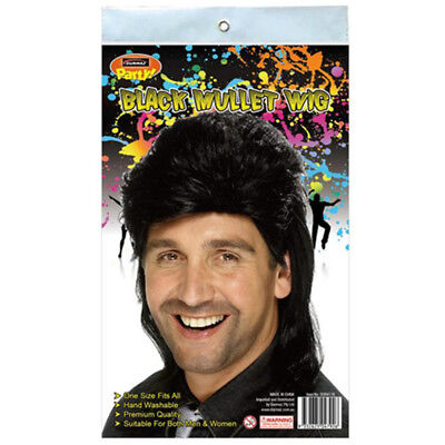 Mullet Style Novelty Hair Wig Black Color Adult Party Custom Event