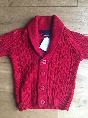 BNWT Next Boys Red Cable-knit Cardigan, 6-9 months