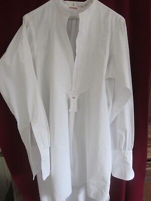 ANTIQUE FRENCH MEN COTTON SHIRT  PLEATED FRONT.  COLLARLESS cXIX