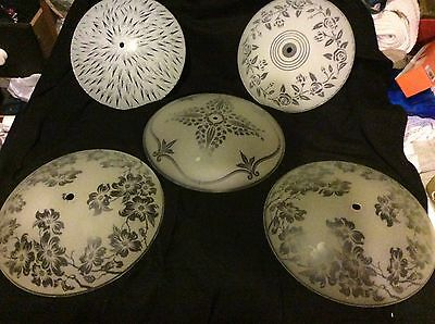 Vintage Ceiling Light Glass Cover White Frost Circular Round Floral Etched Decor