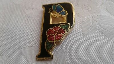 A Beautiful Vintage Cloisonne Enamel Floral And Butterfly Initial P Brooch