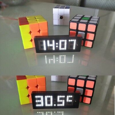 Dot matrix digital display electronic clock +temperature + voltmeter 12v 24v car