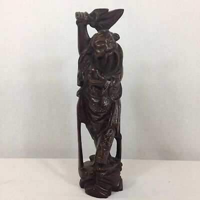 Antique Finely Carved Chinese Hardwood Figure Of A Sage Silver Inlay 29.5cm