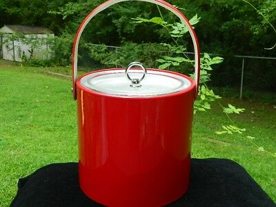 Vintage Georges Briard Ice Bucket Barware 1960's Candy Apple Red Vinly Plastic