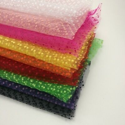 "Tulle 100% Nylon Tutu Spotty Flocked Dots netting Fabric 54"" Wide UK Seller"