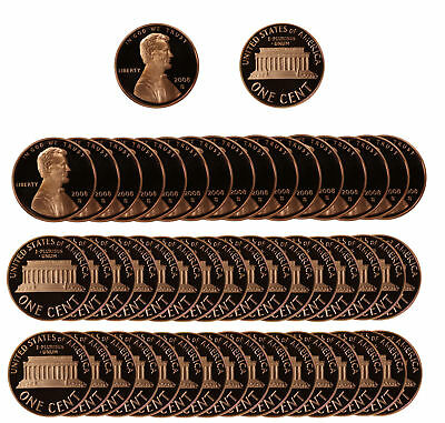 2008 Gem Proof Lincoln Cent Roll - 50 US Coins