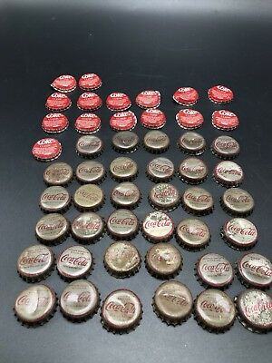 50 Vintage Bottle Caps Coca Cola Coke Classic Most Have Cork Liners