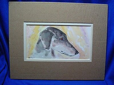 Sketch watercolor Painting of Smooth  Saluki OOAK Small matted by CAConter # 6