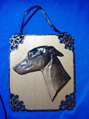 WHIPPET GREYHOUND hanging ornament OOAK Holiday or everyday by Cindy A. Conter