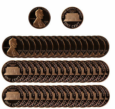 1990 Gem Proof Lincoln Cent Roll - 50 US Coins