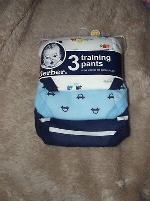 Gerber Boys Training Pants~3 Pack~100% Cotton~Size 3T~Absorbency~Blue~NEW