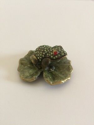 Vintage Rhinestone Frog, Pillow Box, Engagement Ring Holder, With Lid, Lily Pad,