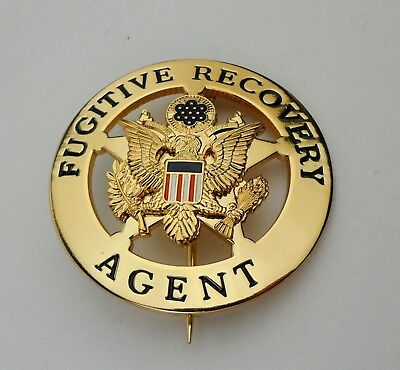 METAL U.S. BADGE US Fugitive Recovery Agent Badge Pin aoo