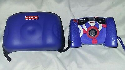 Fisher Price Kids Toy Digital Camera 2006 Blue White Red Kid Tough Tuff & Case