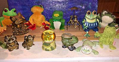 Frog toad collection Brass, bronze , wood and Ganz stuffed animals 13 pcs