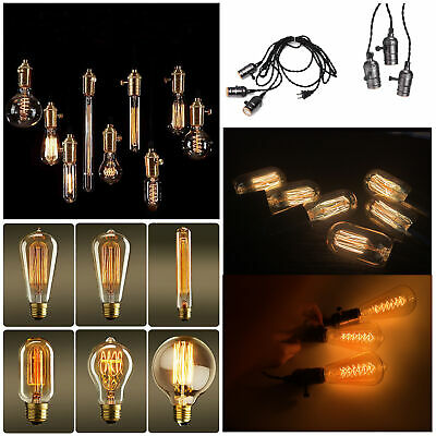 E26 Vintage Filament Edison Light Bulbs 110V 40W 60W Retro Style Industrial Lamp