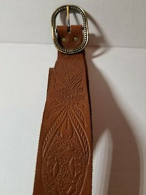 Vtg Beautifully Tooled Brown Leather Belt Hippie Cowboy Cowgirl