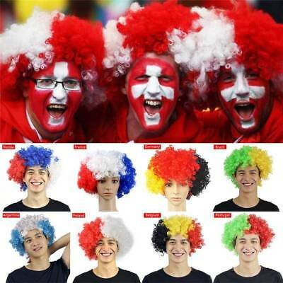 Hot FIFA WORLD CUP Afro Clown Hair Football Fans Party Curly Wig Costume Cosplay