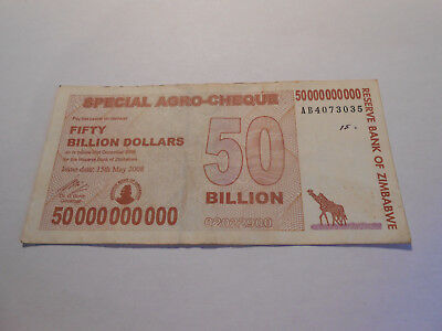 Zimbabwe 50 Billon Dollars Special Agro-Cheque Banknote Nr. AB 4073035