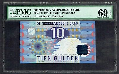Netherlands 10 Gulden 1997 IJsvogel PMG Superb GEM UNC 69EPQ P99