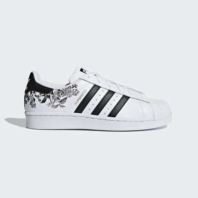 3f1c7ff2280a NIB ADIDAS SUPERSTAR SNEAKER WHITE AND Black Floral Embroidered Size ...