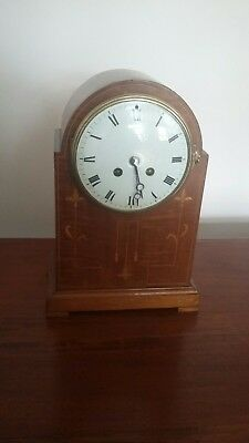 Edwardian Inlaid Case 8 Day Mantle Clock French Martin Movement.