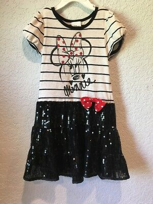 Disney Minnie Mouse Tan & Black Striped Sequined Bodice Girls Dress Size 4/5
