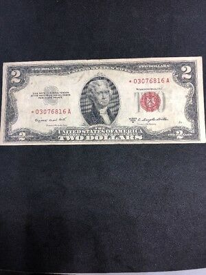 1953 B 2 Dollars Star Red Seal United States Note (*03076816A)