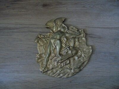 art nouveau brass / gilt metal plaque with possibly apollo and a swan