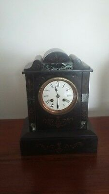 French Slate And Marble 8 Day Marti Mantle Clock