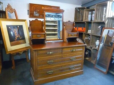 Antique Edwardian Dressing Table Chest of Drawers With Swing Mirror