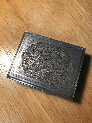 Persian Silver Cigarette Jewelry Trinket Box Hallmark Vintage Hand Chased