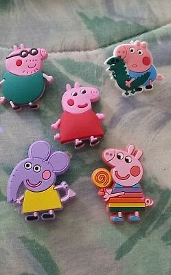 Lot of 5 Peppa. Pig charms for Crocs clog shoes or wristband bracelet. New.