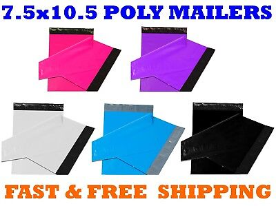 """7.5x10.5 Color POLY MAILERS Shipping Envelopes Self Sealing Mailing Bags 7""""x10"""""""