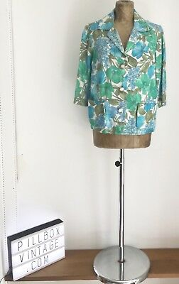 1950s Cropped Floral Linen Jacket Size 12