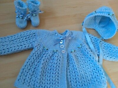 Hand knitted cardigan / matinee coat, bonnet and bootees 0 - 3 months blue