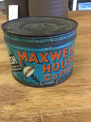 Vintage 1930's Maxwell House Coffee Can w/ Lid